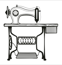 Sewing machine black lines vector