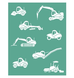 Silhouette of road machinery vector image vector image