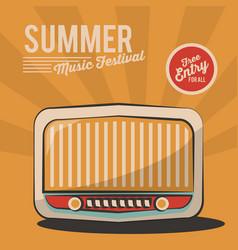 Summer music festival radio vintage poster vector