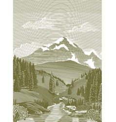 Woodcut river scene vector