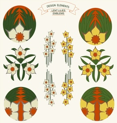 0515 4 desigen elements lent lilies emblems v vector