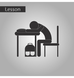 Black and white style icon of student sleeping at vector
