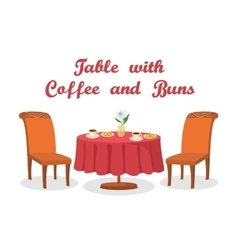 Table with coffee and buns isolated vector