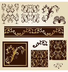 Seamless floral patterns with decorative borders vector