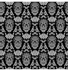 black seamless pattern skull vector image