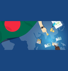 Bangladesh daka economy fiscal money trade concept vector