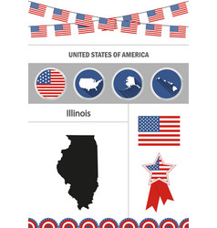 map of illinois set of flat design icons vector image