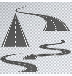 Road with white stripes on a plaid background set vector