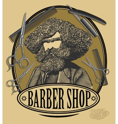 Vintage barber shop sign board vector