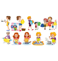 people doing different houseworks vector image