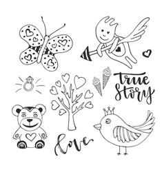 love day set of cute doodle sketch design vector image