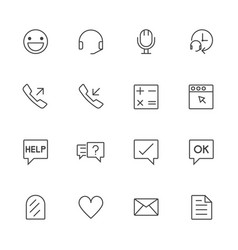 Call center and customer service line icons set vector