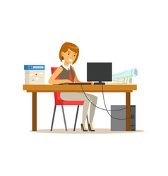 Smiling businesswoman character in a suit working vector