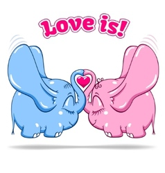 Winged baby elephant in love on white vector