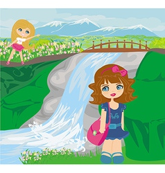 Girls are playing nearby waterfall vector