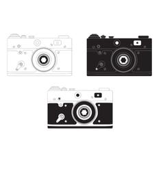 Retro camera in different design options vector image