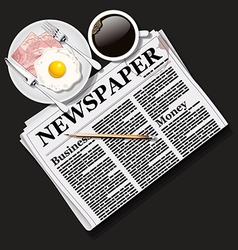 Newspaper with black coffee and breakfast vector
