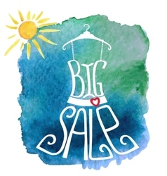 Summer big sale letteringdresswatercolor sun vector