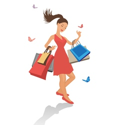 Pretty shopping girl vector