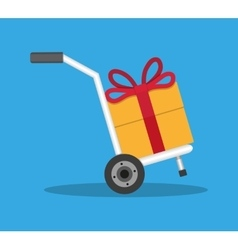 Metallic hand truck with orange gift box vector image