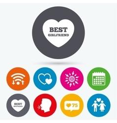 Valentine day love icons Best girlfriend vector image