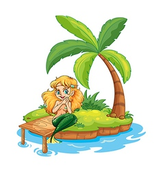 A mermaid at the beach vector image