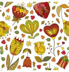 Autumn doodles seamless pattern vector