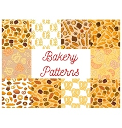Bakery pattern set of bread products and desserts vector