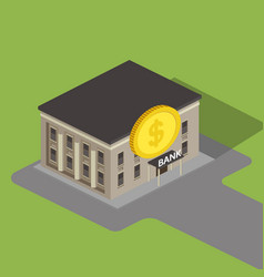 bank building isometric vector image vector image