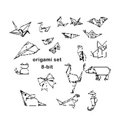 black 8-bit origami hand drawn set vector image vector image