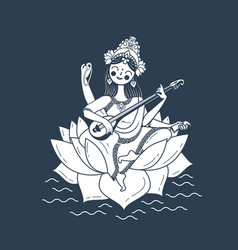 black and white happy vasant panchami saraswati vector image vector image