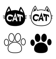 Black cat head face contour silhouette icon set vector