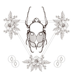 Boho tattoo blackwork beetle may bug in hipster vector