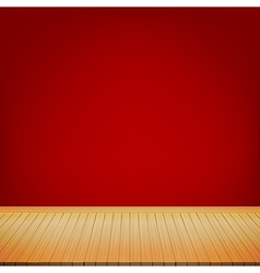 Brown wood floor with red background empty room vector