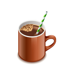 Cocoa drink isolated on white vector