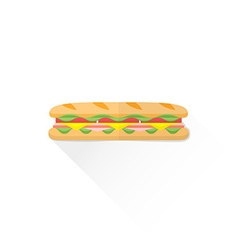 Color fast food submarine sandwich icon vector
