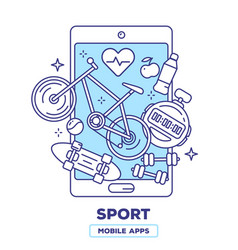 Creative of mobile phone with bicycle heart vector