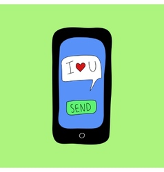 Doodle style phone with love message vector image