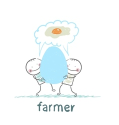 farmer has a huge egg with a man and they think of vector image vector image