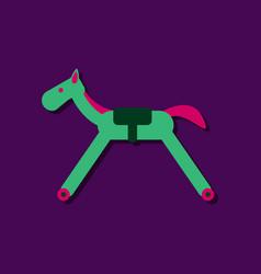 Flat icon design kids rocking horse in sticker vector