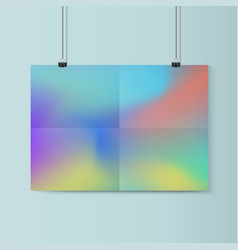 Fluid horizontal poster mockup with paper vector