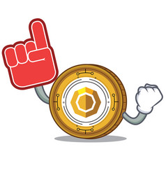 Foam finger komodo coin mascot cartoon vector