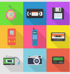 Gadgets 90s icon set vector