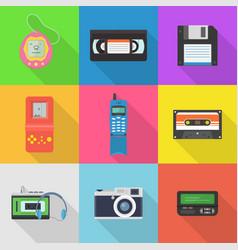 gadgets 90s icon set vector image vector image