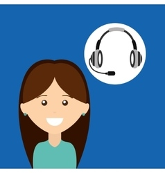 girl headphones for support vector image