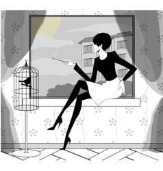 Gothic girl smokes near a window vector
