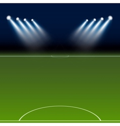 Green soccer field bright spotlights vector image
