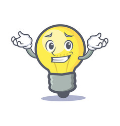 Grinning light bulb character cartoon vector
