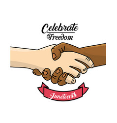 Hands together and ribbon to celebrate freedom vector