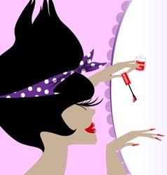 lady and nail polish vector image vector image
